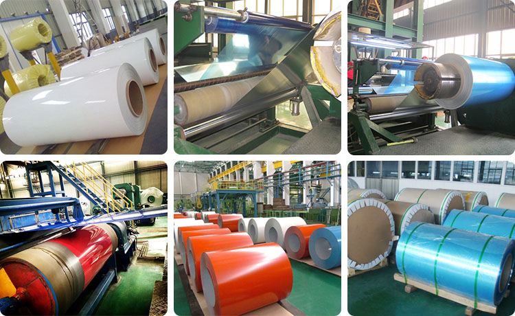 This shows workshop and packaging of pvdf color coated aluminum coil.