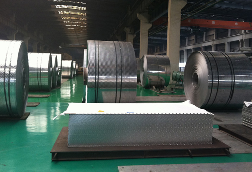 workshop for embossed aluminum sheet and coil metals