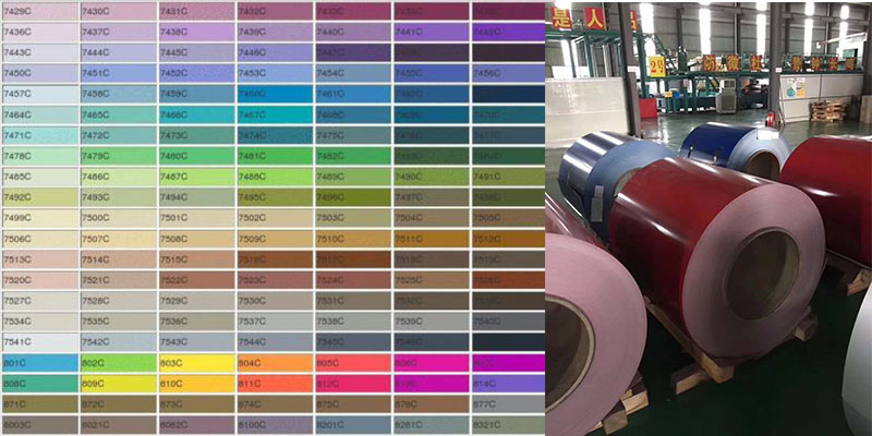 This is a color board for choosing coated aluminum coil colors.