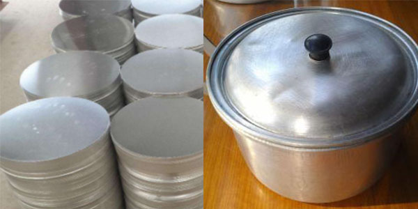 This shows 3003 aluminum discs for sale and an aluminum pot.