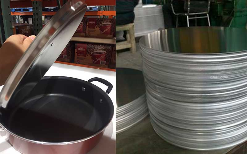 The picture shows aluminium flat round metal discs and an aluminium pot.