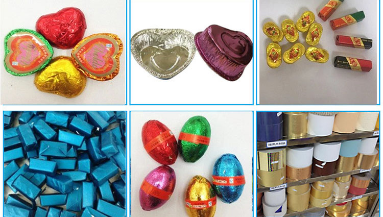 This shows color coated aluminium foil application for chocolate and food packing.