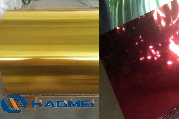 gold and red anodized aluminum sheet