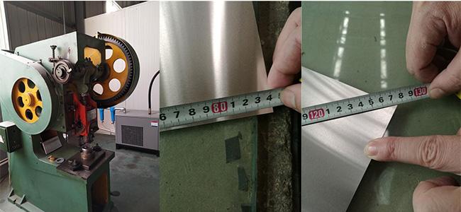 Test of finished aluminum sheet for bottle cap